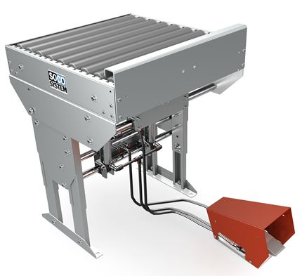 Pneumatically tilt able packaging table