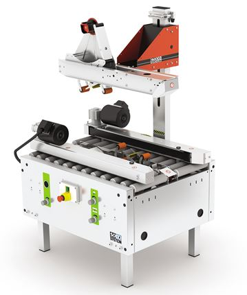 T-55 case sealer with automatic adjustment for case size